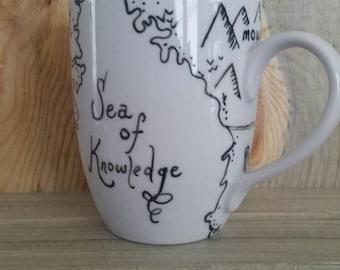 Milo's Map Mug - hand painted Phantom Tollbooth mug