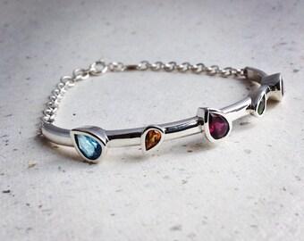 Multi colour pear cut Gemstone and silver bracelet