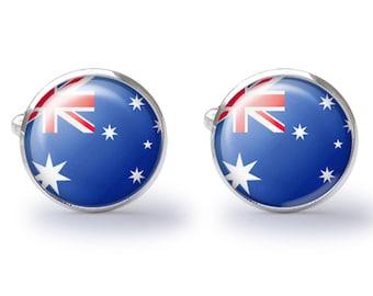 Australian Flag Cufflinks - Flag Cuff Links - Australia Cufflink (Pair) Lifetime Guarantee (S0152)