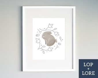 "Kids Nursery Print | Illustrated Print | Neutral Art | Baby Bunny | Grey Rabbit | ""Bunny Hug"""