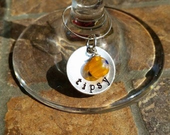 Wine charms.  Wine glass charms. Custom wine glass charms.  Wine glass tags.  Set of four.