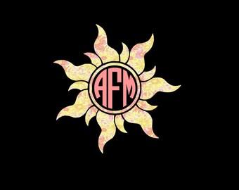 Sun Monogram Decal, Sunshine, Flaming Sun, Circle Monogram