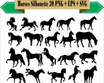Horse Riders Horses Wild Wood Jump Pony Play Pack Silhouette Vector Clipart PNG EPS Digital Files Scrapbook Supplies Instant Download