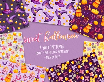 Halloween clipart, Kids clipart, Fall clipart, Autumn clipart, digital papers, watercolor, pumpkin, witch hat, candy corn, flowers, baby