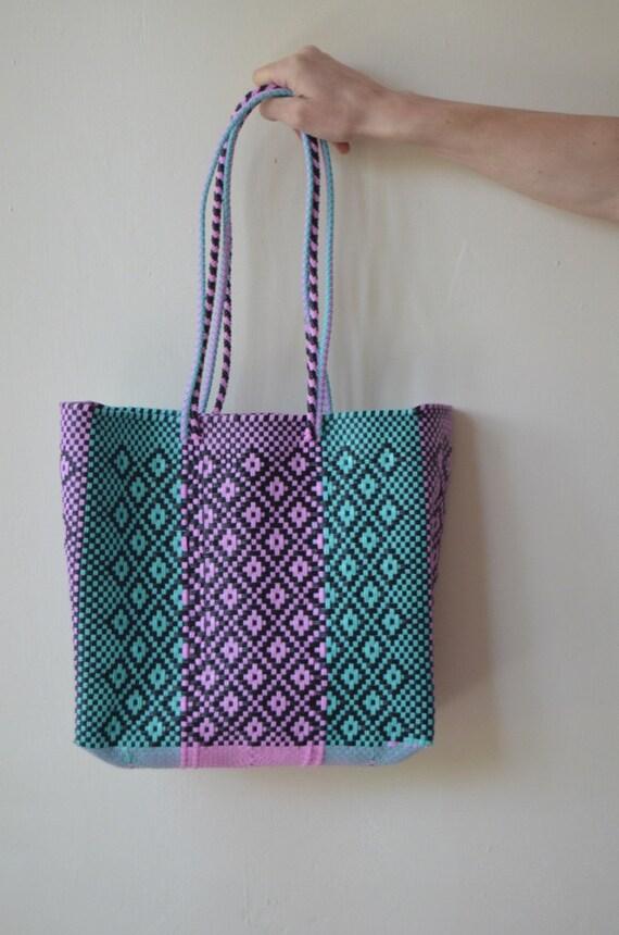 Handmade Diaper Bags : Pink aqua black diaper bag handmade mexican handbag