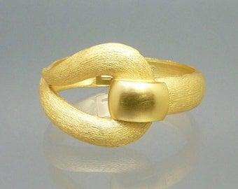 1960s Trifari Clamper Bracelet Modern Design Brushed Gold Tone Hinged Cuff Signed Vintage Designer Costume Jewelry