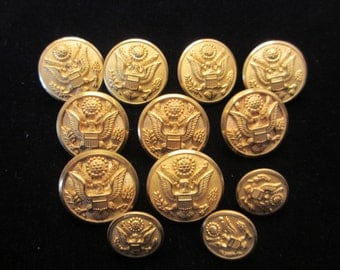 Twelve Vintage Like New US Army Dress Uniform Brass Buttons- Waterbury Button Co