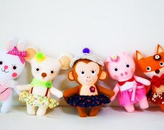 Monkey Handmade Felt Plush, Monkey Ornament, Animal Rag Doll, Soft Animal Plushie, Monkey Cloth Felt Doll, Stuffed Girls Toy, Miniature Toy
