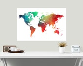 Large World Map Print, Geometric Map Poster, Printable Art, Travel Decor, Home Decor, Wall Art, Instant Download