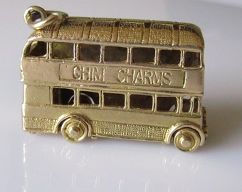 Large 9ct Gold Route Master Double Decker Bus CHIM Charm