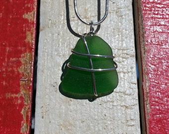 Jade  Beachglass Necklace-Authentic Beachglass-Handcrafted Jewelry