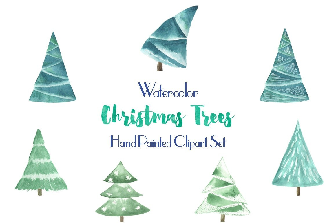 watercolor christmas tree clip art for scrapbooking holiday season