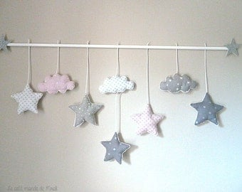Powder and gray clouds pink stars mobile! on command!