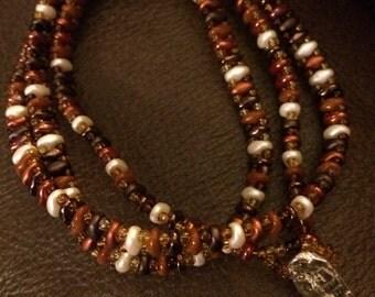 wrap bracelet - brown, beige, rust