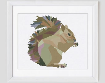 Squirrel cross stitch, squirrel cross stitch pattern, squirrel counted cross stitch pattern, gray squirrel cross stitch pattern