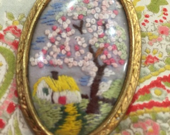 Vintage Emboidered Cottage Brooch
