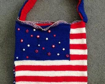 Handmade vintage American flag oversized knit bag