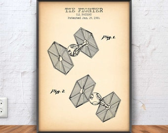 TIE FIGHTER poster, star wars patent print, star wars blueprint, star wars decor, star wars printable, imperial, darth vader, #1079