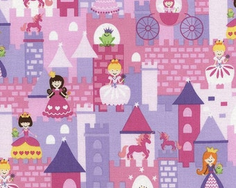 Timeless Treasures Fairy Tale Mini Princess Castle Pink - 100% Cotton - FQ and Half Yard Cuts left