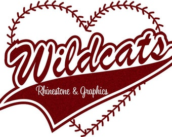 Wildcats Baseball Heart with Laces Instant download SVG, Eps, Cutting File