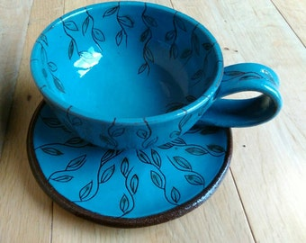 Large Blue Sgraffito Mug/Soup/Coffee with plate