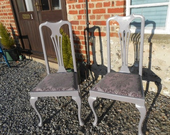 A Pair of Classy Heather Hand Painted Chairs Reupholstered with Pretty Braroque Fabric
