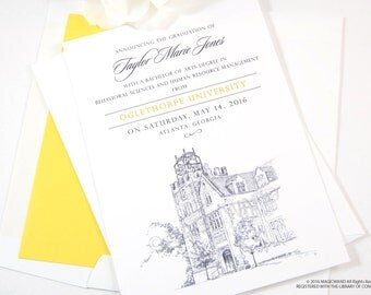Oglethorpe University Graduation Announcements, Grad Party Invitation, Grads, College (set of 25 cards and envelopes)