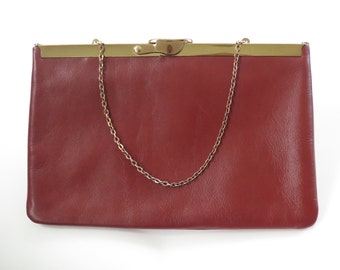 "Vintage 60s / 70s Red Ochre Genuine Leather ""ETRA"" Clutch Handbag"