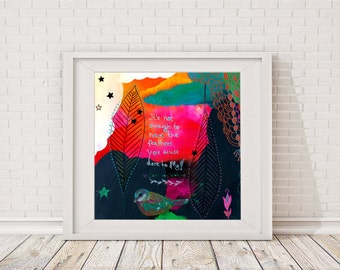 """Wall art print """"It's not enough to have the feathers"""" whimsical painting quote fly feathers bird 20x20 cm"""