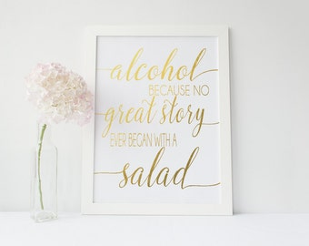 Real Gold Foil Alcohol Wedding Print - Color Foil Bar Print - Alcohol Sign (ID26)
