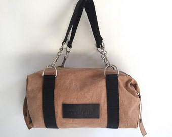 Small light brown leather handbag