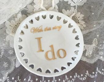 """Round Heart Mini Tray - """" I do"""" Gold"""