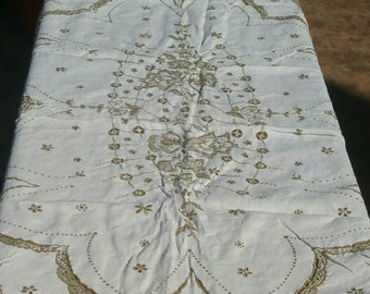 Vintage Madeira Spain Large Banquet Holiday Linen Table Cloth matching napkins. Heirloom  Family Pieces