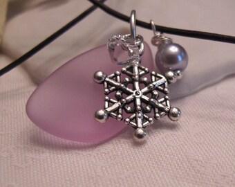 Sea glass and snowflake pendant ~ lavender