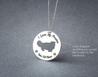 Personalised DISK PERSIAN CAT Necklace / Circle cat breed Necklace / Cat necklace/ Silver, Gold Plated or Rose Plated.
