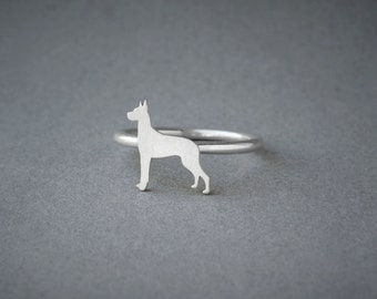 GREAT DANE RING / Great Dane Ring / Silver Dog Ring / Dog Breed Ring / Silver, Gold Plated or Rose Plated.