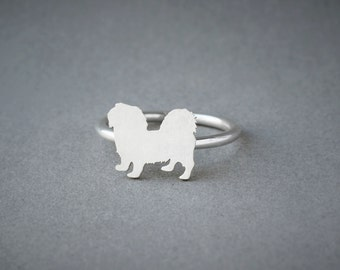 PEKINGESE RING / Pekingese Shorthaired Ring / Silver Dog Ring / Dog Breed Ring / Silver, Gold Plated or Rose Plated.