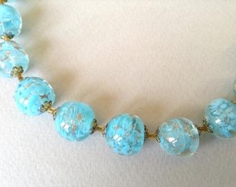 Blue Venetian Lava Foil Glass Bead Necklace
