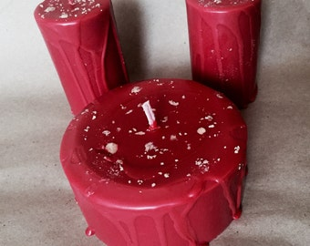 Wiccan spell candle-Dragons Blood resin infused dark red spell candle-ritual candle-altar candle-set of 3 dragons blood candles