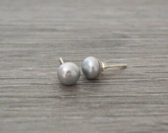 Freshwater Pearl Studs • 8mm Sterling Silver Grey Freshwater Pearl Ear Studs • UK Seller