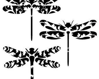 "6/6"" Vintage dragonfly stencil collection."