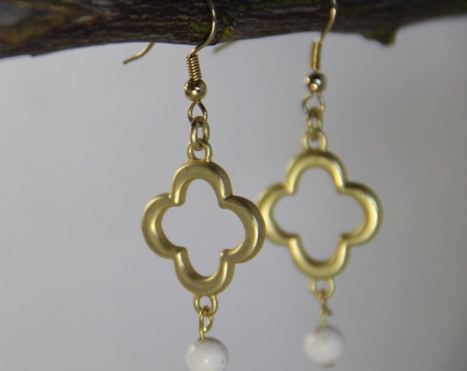 Gold Earrings Clover Earrings White Howlite Dangle Drop Earrings Bridal Bridesmaid Jewelry Phi Mu Earrings Boho Lucky Good Luck
