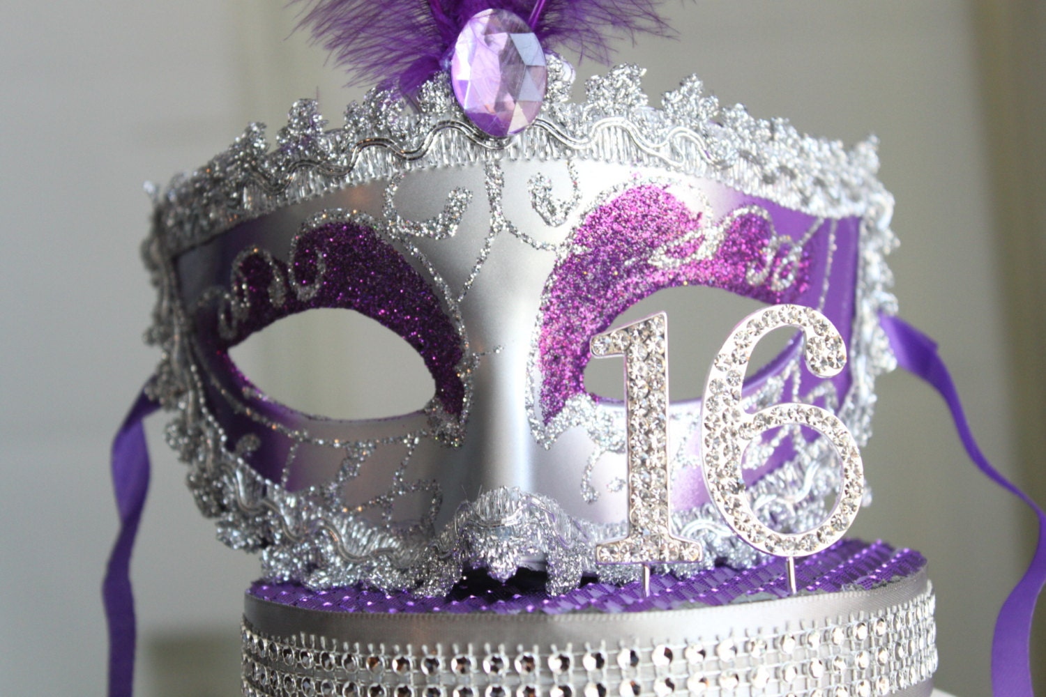 Masquerade Mask Rhinestone Sweet 16 Cake Topper Purple
