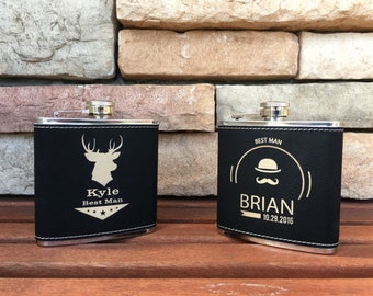 8 Leather Flasks Groomsmen Gifts, Personalized Flasks, Custom Flasks, Engraved Flasks, Groom Gift, Usher Gift, Flask, Custom Groomsmen Flask