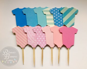 12 Baby Bodysuit Cupcake Toppers, Baby Shower Toppers, Cupcake Decorations, Baby Birthday Party Decoration, Pink or Blue theme