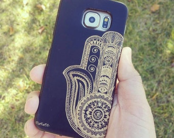 Laser Engraved Hamsa Fatima Hand Aztec with Om Leafy Mandala and Evil Eye on Genuine Wood phone Case for Galaxy S5, S6 and S6Edge S-051