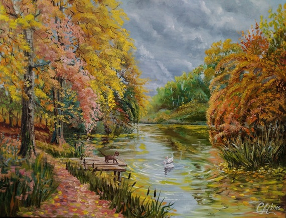 autumn painting fall landscape oil painting impressionism