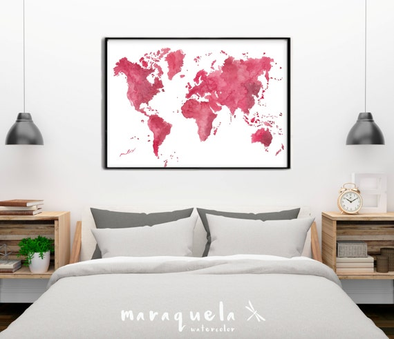 Original WORLD MAP watercolor color CHERRY red. Watercolor, Birthday Gift, Wedding, World map poster, watercolour, Carte du monde mappamondo