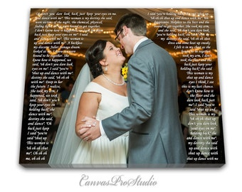 Anniversary day gift First Dance Lyrics, Picture with Wedding Vows, Gift,  Wedding Vows Canvas, Wedding Registry,Anniversary,Engagement Gift