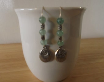 Antique Silver Charm With Jade Beads Earrings